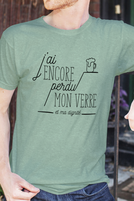 T-shirt vert chiné Homme J'ai perdu ma dignité