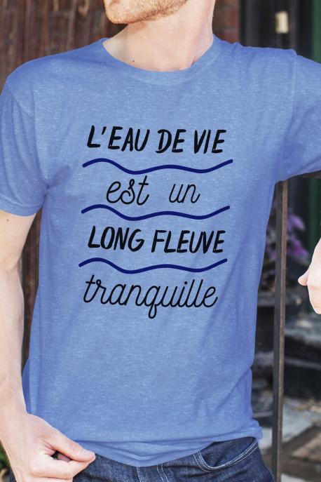 T-shirt bleu chiné Homme L'eau de vie est un long fleuve tranquille