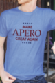 T-shirt bleu chiné Homme Make Apero great again