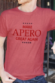 T-shirt rouge chiné Homme Make Apero great again