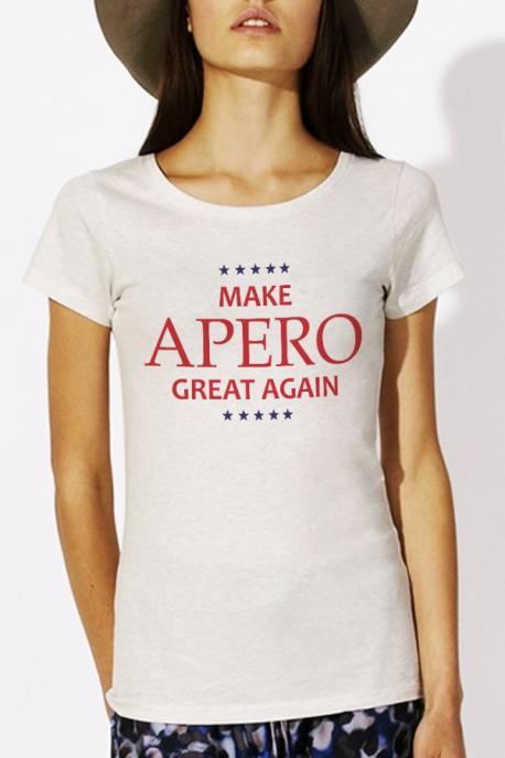 T-shirt crème chiné Femme Make Apero great again