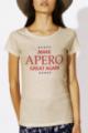 T-shirt beige Femme Make Apero great again