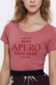 T-shirt framboise Femme Make Apero great again