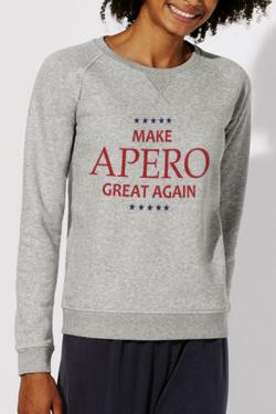 Sweat gris Femme Make Apero great again