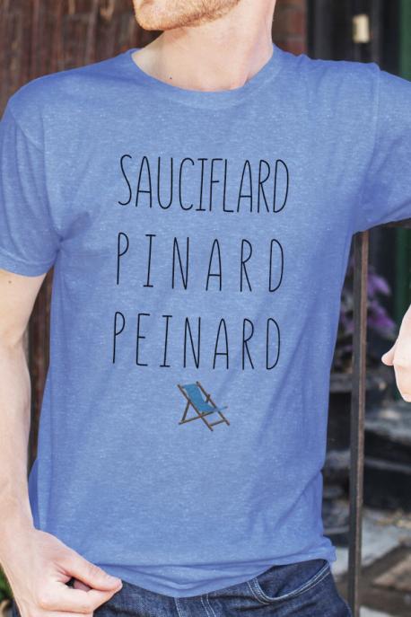 T-shirt bleu chiné Homme Sauciflard, Pinard, Peinard