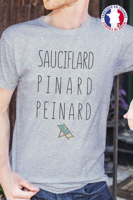 T-shirt gris chiné Made in France Homme Sauciflard, Pinard, Peinard