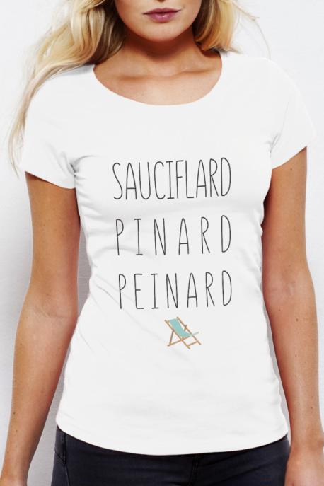 T-shirt blanc Femme Sauciflard, Pinard, Peinard