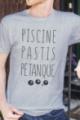 T-shirt gris chiné Homme Piscine, Pastis, Pétanque