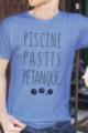 T-shirt bleu chiné Homme Piscine, Pastis, Pétanque