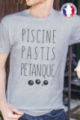 T-shirt gris chiné Made in France Homme Piscine, Pastis, Pétanque