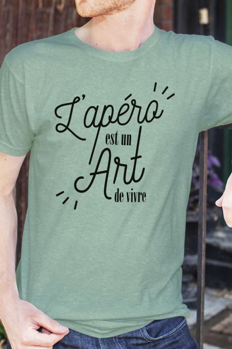 T-shirt Vert chiné Homme Apero est un Art de Vivre