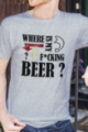 T-shirt gris chiné Homme Where is my beer