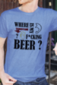 T-shirt bleu chiné Homme Where is my beer
