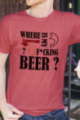 T-shirt rouge chiné Homme Where is my beer