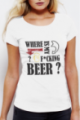 T-shirt blanc Femme Where is my beer