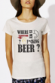 T-shirt crème chiné Femme Where is my beer