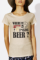 T-shirt beige Femme Where is my beer