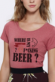 T-shirt framboise Femme Where is my beer