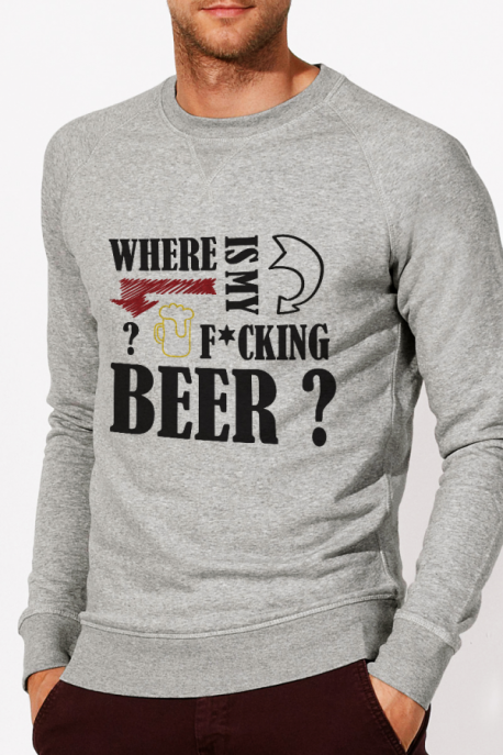 Sweat gris Homme Where is my beer