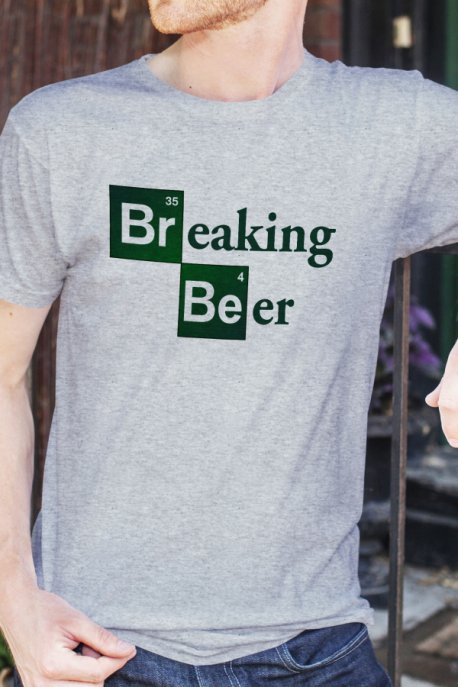 T-shirt gris chiné Homme Breaking Beer