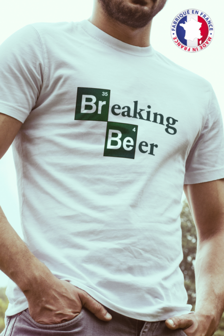 T-shirt blanc Made in France Homme Breaking Beer