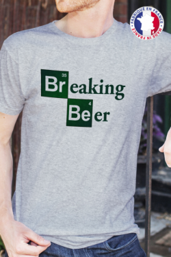 T-shirt gris chiné Made in France Homme Breaking Beer