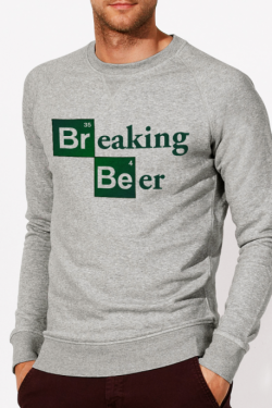 Sweat gris Homme Breaking Beer