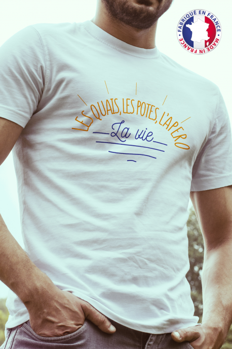 T-shirt blanc Made in France Homme Quais, Potes, Apero, Vie
