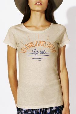 T-shirt beige chiné Femme Quais, Potes, Apero, Vie