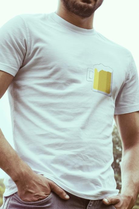 T-shirt blanc Homme Chope de Bière