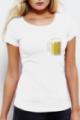 T-shirt blanc Femme Chope de Bière