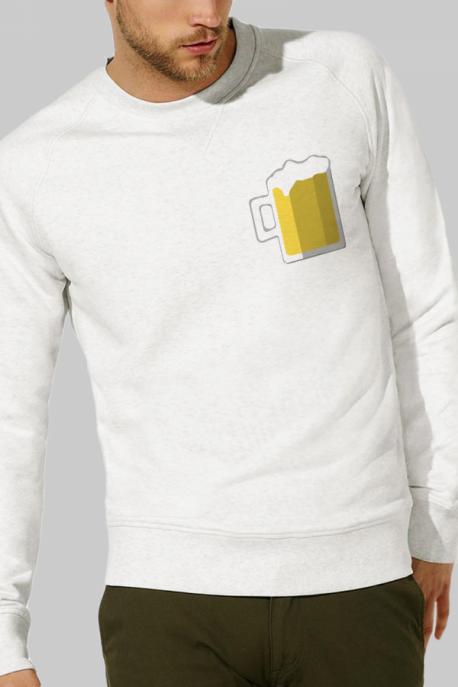 Sweat crème Homme Chope de Bière