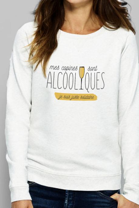 Sweat Femme crème Copines sont alcooliques