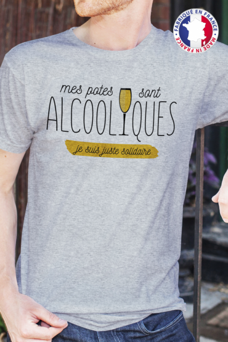 T-shirt Made in France gris chiné Homme Potes Alcooliques
