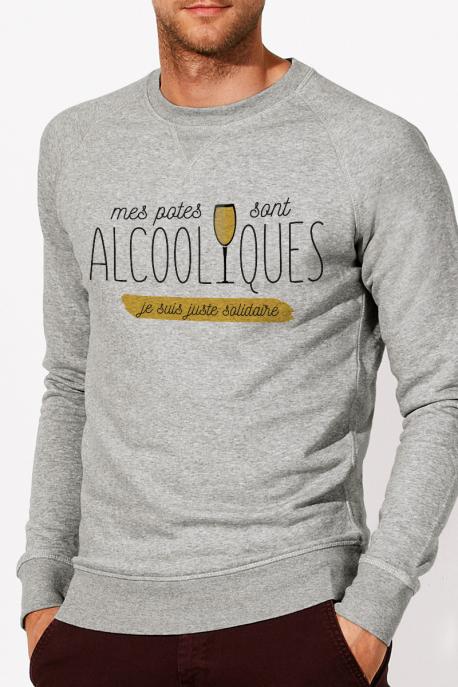 Sweat gris chiné Homme Potes Alcooliques