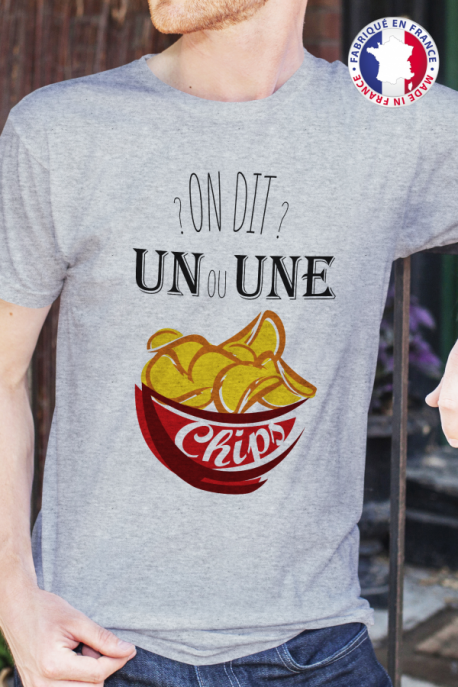 T-shirt Made in France Homme gris chiné Un ou une chips