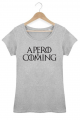 T-shirt Gris chiné Femme Apero is coming