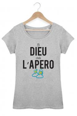 T-shirt Femme Gris Dieu créa l'apéro