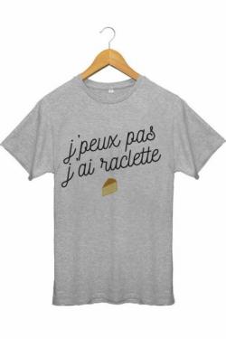 Tee shirt Homme J'peux pas j'ai raclette - Gris
