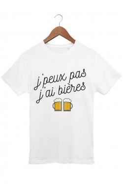 T-shirt Homme J'peux pas j'ai bières - Blanc