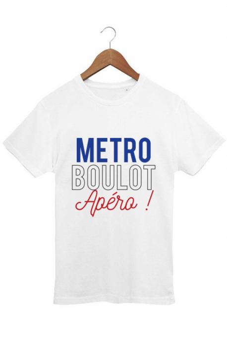 T-shirt Homme Métro Boulot Apéro - Blanc