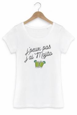 T-shirt Femme J'peux pas j'ai mojito - Blanc