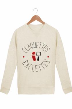 Sweatshirt Femme Claquettes Raclettes crème chiné