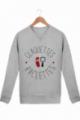 Sweatshirt Femme Claquettes Raclettes gris chiné