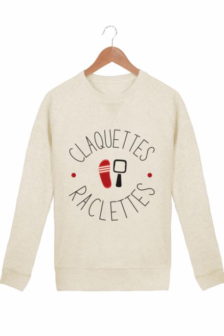 Sweat Femme Raclettes Claquettes Crème chiné