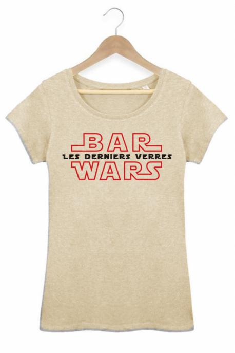 T-shirt Femme Les derniers jedi Star Wars Bar Coton bio beige chiné