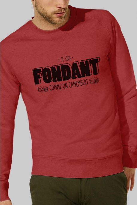 Sweat rouge Homme Fondant comme un camembert