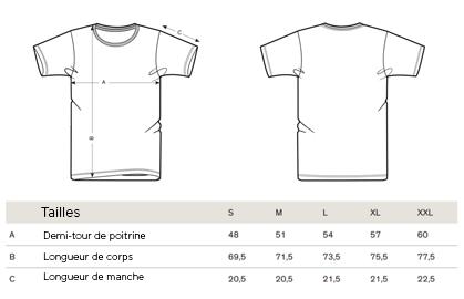 Grille des Tailles T-shirts Bio du T-shirt de l'Apéro